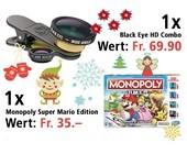 Am 4. Dezember eine Monopoly Super Mario Edition und eine Black Eye HD Combo gewinnen.