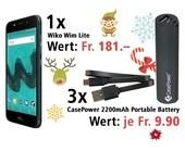 Am 9. Dezember ein Wiko Wim Lite und drei CasePower 2200mAh Portable Battery gewinnen.