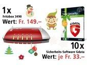 Am 11. Dezember eine Fritzbox 3490 und 10 G DATA Total Security Birthday Boxen gewinnen.