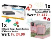 Am 16. Dezember Netgear Universal Pro Switches XS505 M und KitSound Boogie Buddie Portable BT Wireless Speaker - Pig gewinnen