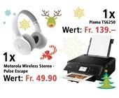 Am 20. Dezember Canon Pixma TS6250 Multifunktionssystem und Motorola Wireless Stereo - Pulse Escape Kopfhörer gewinnen
