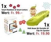 Am 21. Dezember Smart-Numbers & Smart-Letters und einen Polk Boom Bit Portable BT Clip-On Speaker gewinnen
