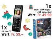 Am 22. Dezember ein Fritz!Fon C5 und LIGHT STAX Magic - LEGO-kompatibel gewinnen