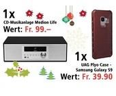 Am 23. Dezember eine CD-Musikanlage MEDION LIFE P64301 und ein UAG Plyo Case gewinnen