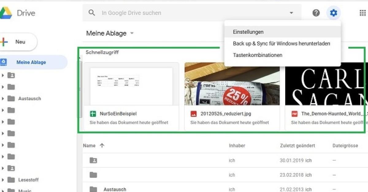 Google Drive Schnellzugriff