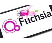Google Fuchsia auf Smartphone-Bildschirm