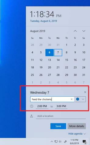 Kalender in Windows 10