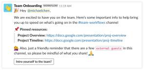 Onboarding-Message in Slack