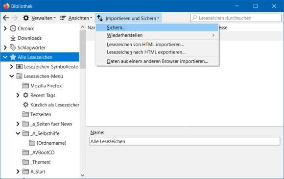 Firefox Profil Importieren