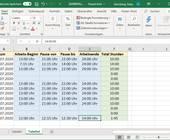 Excel-Tabelle mit Beispiel-Arbeitszeiten