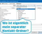 Outlook-Screenshot mit Text: Wo ist mein Kontaktordner?