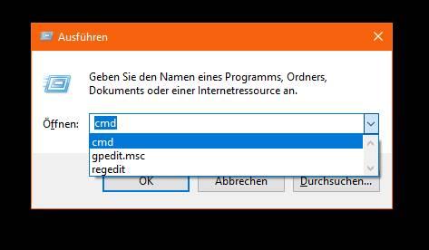 Windows 10 Ausführen Befehle