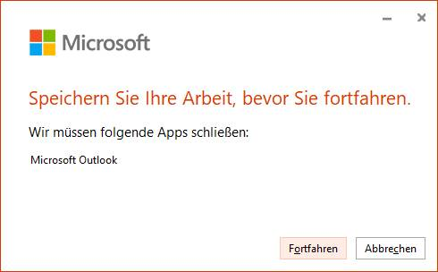 Screenshot Update muss Outlook neu starten