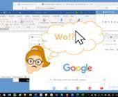 Windows-Desktop mit mehreren Fenstern und Comic-Figur mit Denkblase