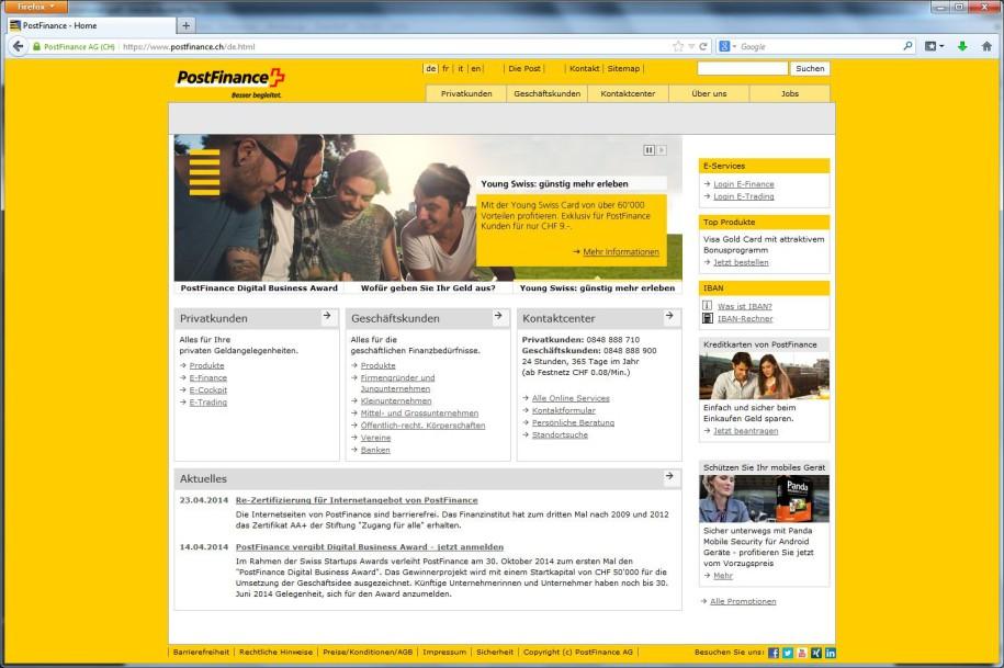 Re-Zertifizierung für Internetangebot von PostFinance - onlinepc.ch