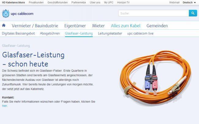 upc cablecom beendet Ausbau mit Glasfaserkabel - onlinepc.ch