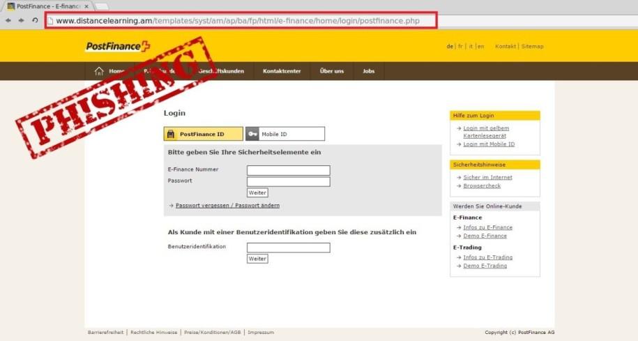 phishing mail zur verifizierung von postfinance. Black Bedroom Furniture Sets. Home Design Ideas