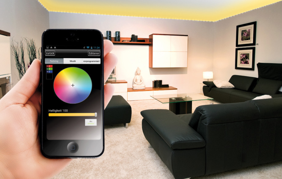 smartphone steuert led streifen per app. Black Bedroom Furniture Sets. Home Design Ideas