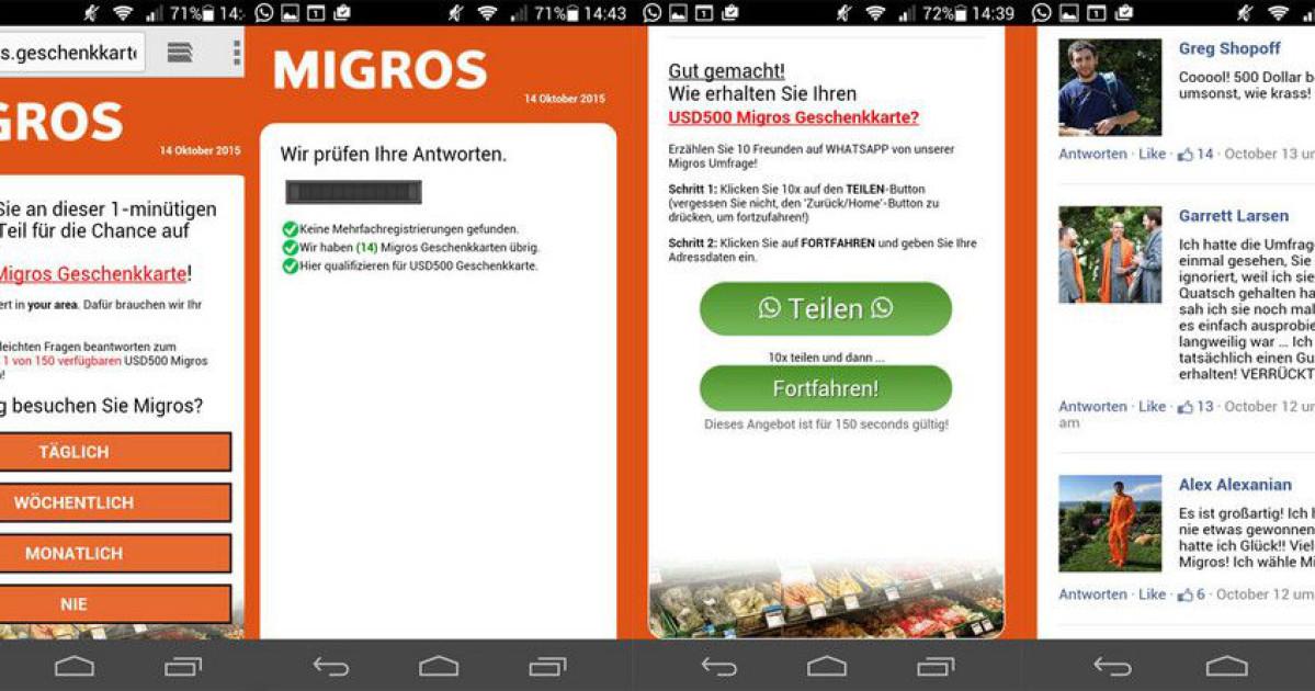 Vorsicht Phishing: Migros verspricht angeblich Gutscheine - onlinepc.ch