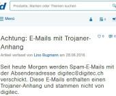 Digitec warnt vor Trojaner Mails
