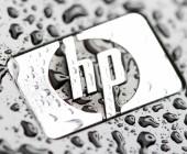 HP-Logo mit Regentropfen
