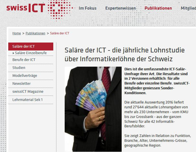 Das verdienen informatiker in der schweiz 2016 for Ict schweiz
