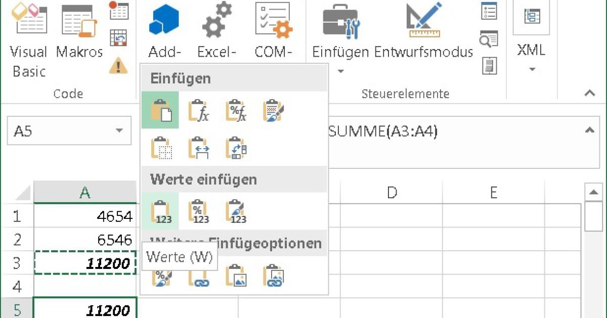 Excel: Tastenkürzel für «Nur Werte einfügen» - onlinepc.ch