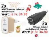 Am 13. Dezember zwei KitSound MyJack2 Audioadapter und zwei Universal Home Charger gewinnen