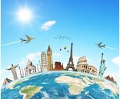 Reise-Motiv-Illustration-Flugzeug-Globus