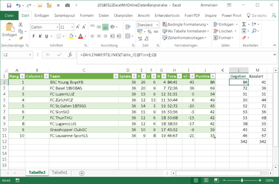 Excel mit Livedaten aus dem Web füllen - onlinepc.ch