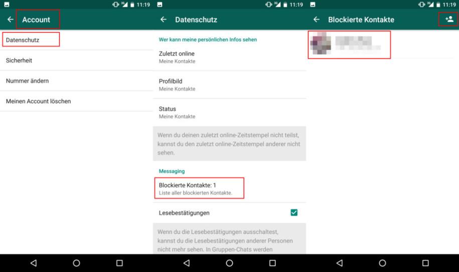 Blockierte kontakte whatsapp Blockierte Kontakte